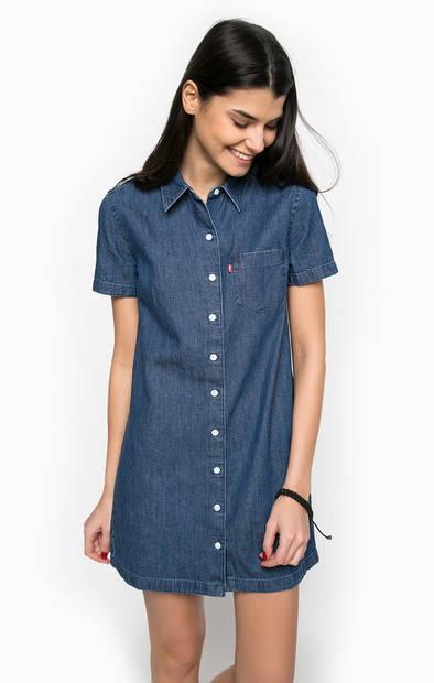 Короткое джинсовое платье с нагрудным карманом