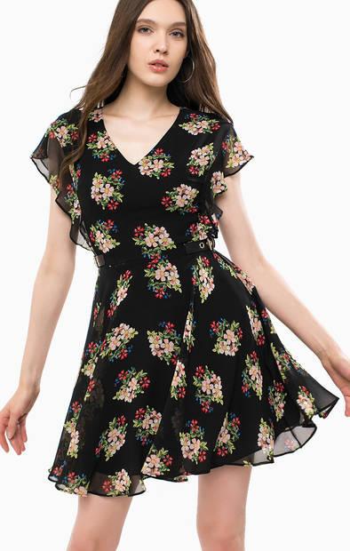 Короткое платье с цветочным принтом